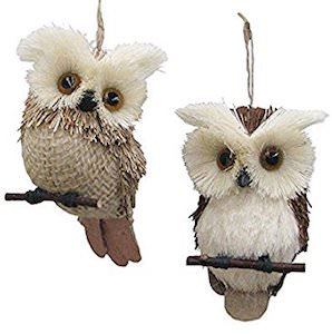 Natural Owl Ornaments
