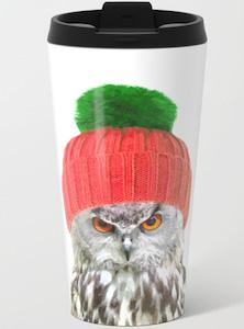 Owl Wearing Winter Hat Travel Mug