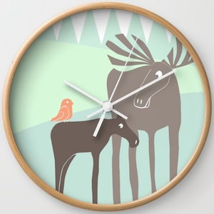 Moose Family Wall Clock