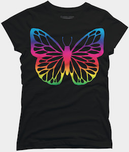 Neon Rainbow Butterfly T-Shirt