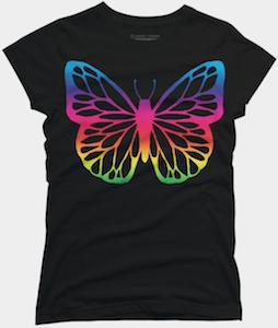 Neon Rainbow Butterfly T-Shirt