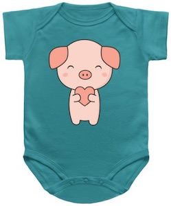 Piggy And A Heart Baby Bodysuit