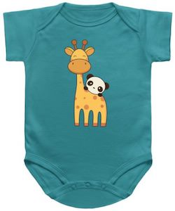 Giraffe And Panda Baby Bodysuit