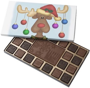 Decorated Reindeer Box Of Chocolates