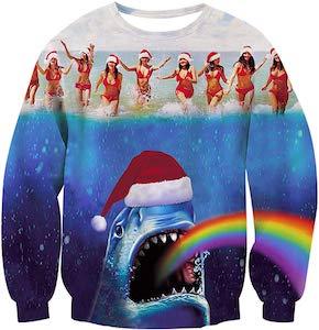 Shark And Bikini Girls Christmas Sweater