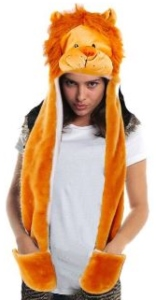 Lion Plush Hat With Attached Gloves