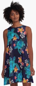 Sea Turtle With Flowers A Line Dress