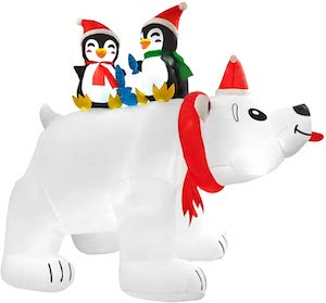 Polar Bear And Penguins Christmas Inflatable