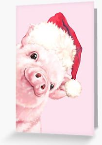 Pig With Santa Hat Christmas Card