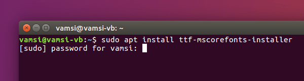 install-microsoft-fonts-ubuntu-ms-fonts-command