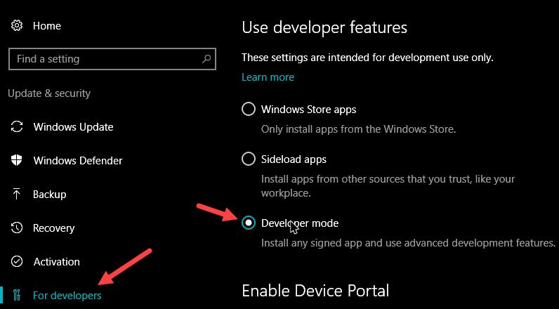 bash on Windows 10 enable developer mode