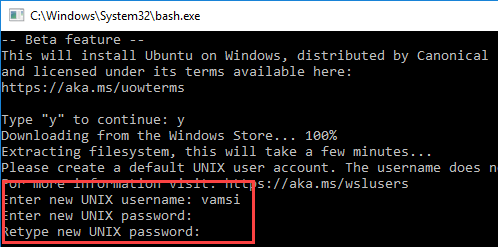 bash on Windows 10 enter username and password