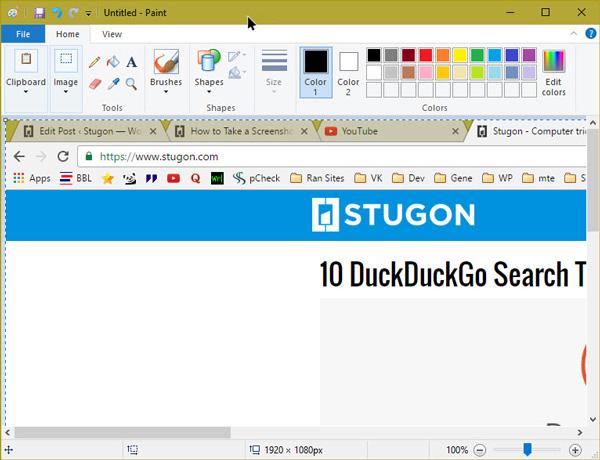 take a screenshot in windows 10 paste screenshot in paint