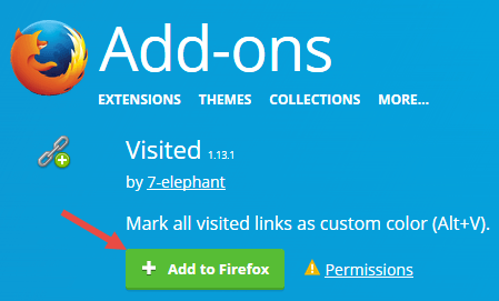 Change visited link color in Firefox - Install add-on
