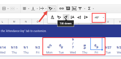 Rotate Text in Google Sheets - Text Rotation Options in Menu Bar