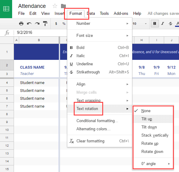 Rotate Text in Google Sheets - Options in Navigation Bar