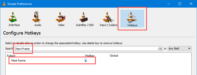 VLC frame by frame - Your current hotkey for Next Frame
