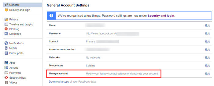 Hide Facebook profile - Click on manage accounts