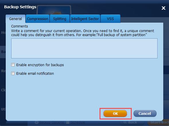 AOMEI Backupper Review - Advanced Backup Settings