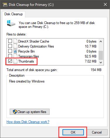 Delete thumbnail cache - Select Thumbnails checkbox