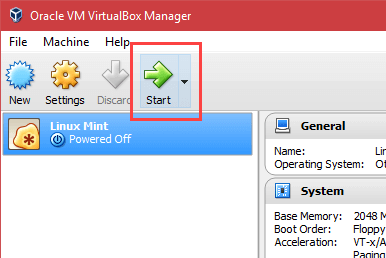 Install Linux Mint in VirtualBox - Click Start Button