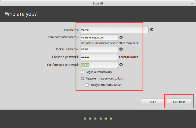 Install Linux Mint in VirtualBox - Set Username and Password