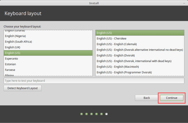 Install Linux Mint in VirtualBox - Select Keyboard Layout