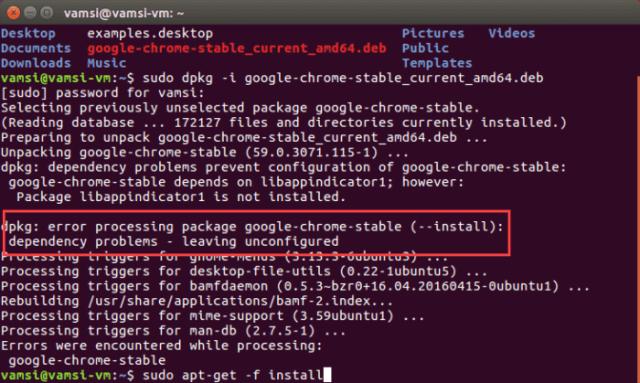Install Google Chrome in Ubuntu - rectify errors