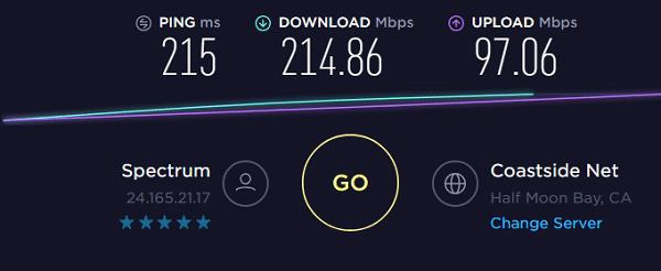 Speed test to IP1 - 24.165.21.17