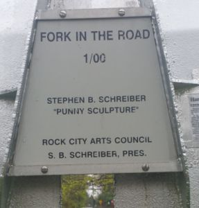Fork In The Road - Punny Sculpture
