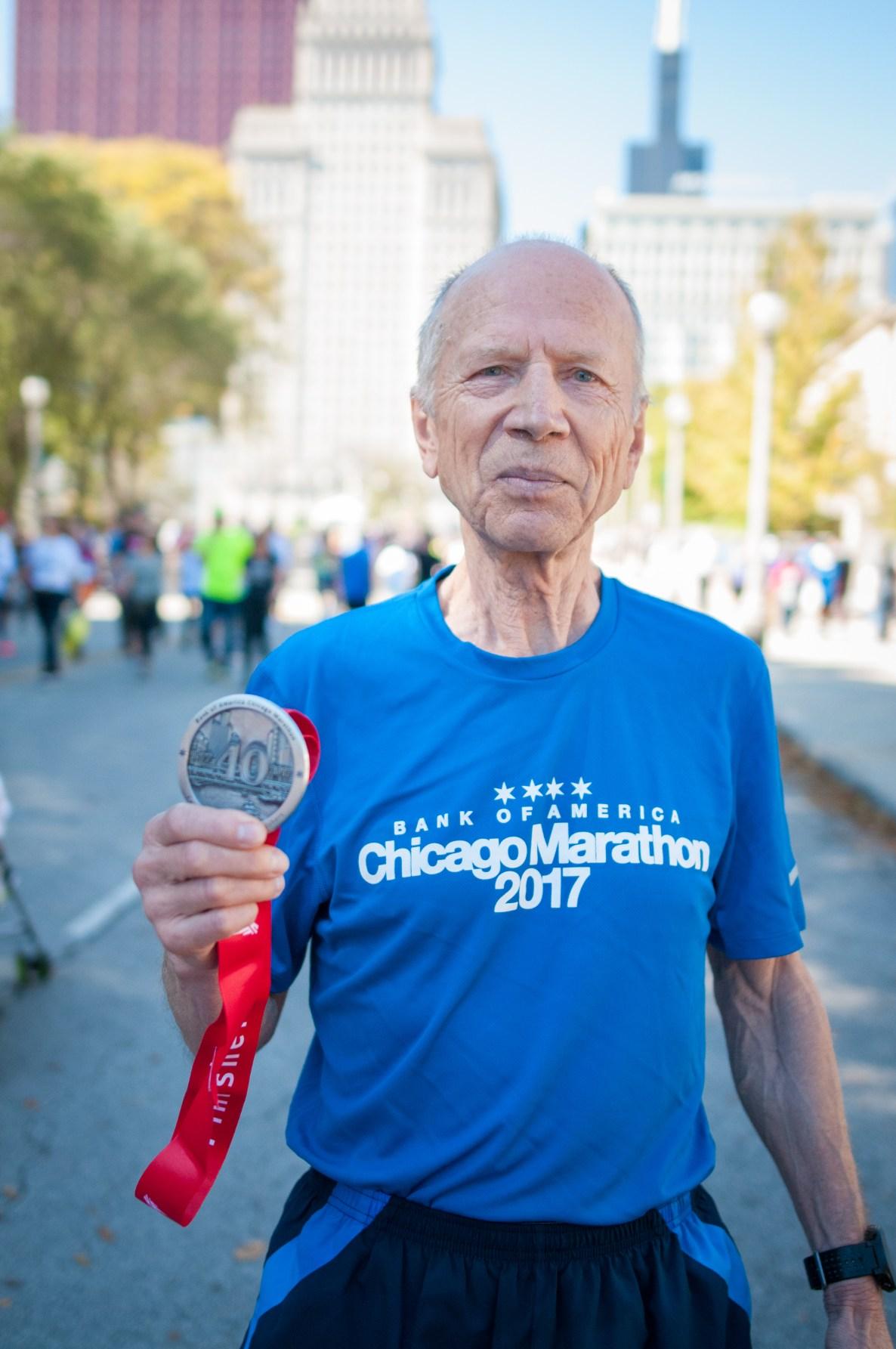 Dmytro Lebedev - first place in Chicago marathon age 75-79