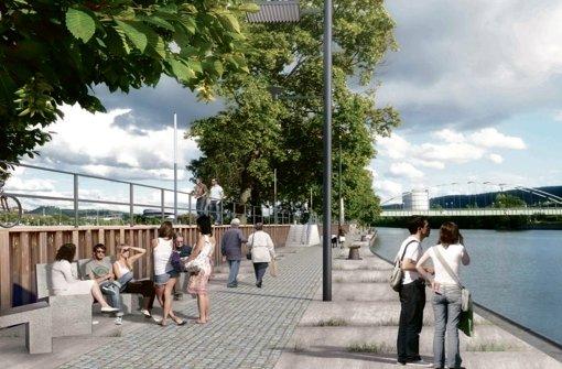 So können sich die Planer den Neckarabschnitt am Wasen vorstellen. Im Hintergrund ist der Berger Steg und der Gaskessel zu sehen. Foto: StZ