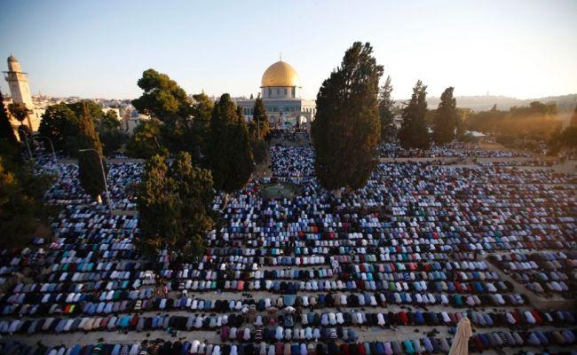 Ende Des Ramadan Muslime Feiern Fest Des Fastenbrechens