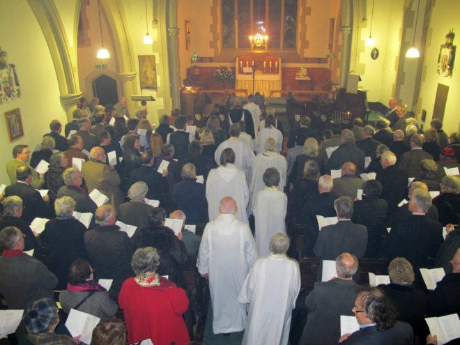 Clergy process in to the Service of Institution of Canon Allan Maclean as Rector of St Vincent's on St Vincent's Day, 22 January 2015