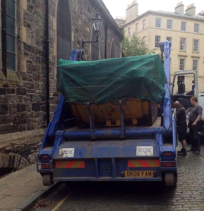 One of the eleven large skips of rubbish removed from St Vincent's in July 2015.