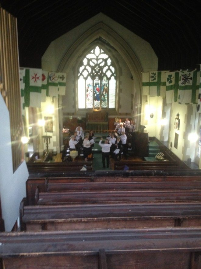 The Chapter House Singers rehearse in St Vincent's under their director Les Shankland prior to Choral Evensong at St Vincent's on Saturday 22nd August 2015