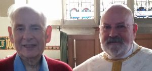 George Hay, Director of Music Emeritus with the Reverend William Mounsey, August 2015.