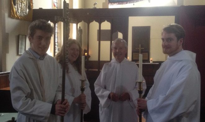 Christopher Hartley, Sacristan, and the servers prior to the Sunday Eucharist on 23rd August 2015