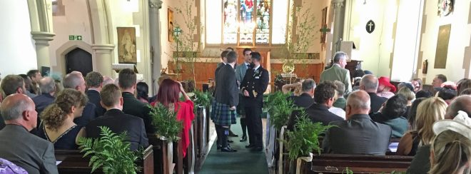 The groom awaits his bride's arrival at the wedding of Andrew and Lucy at St Vincent's on Saturday 28th May 2016.