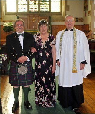 The Marriage of Dr Bruce Durie and Carolyn Becket wedding at St Vincent's on 12th August 2015, conducted by the Reverend Canon Dr Joe Morrow - a family friend who is also Lord Lyon King of Arms.