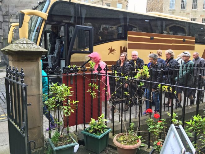 Sunset Swing participants arriving by coach for their Fringe show at St Vincent's. They hail from Yorkshire and had a particularly appreciative audience for their afternoon show.