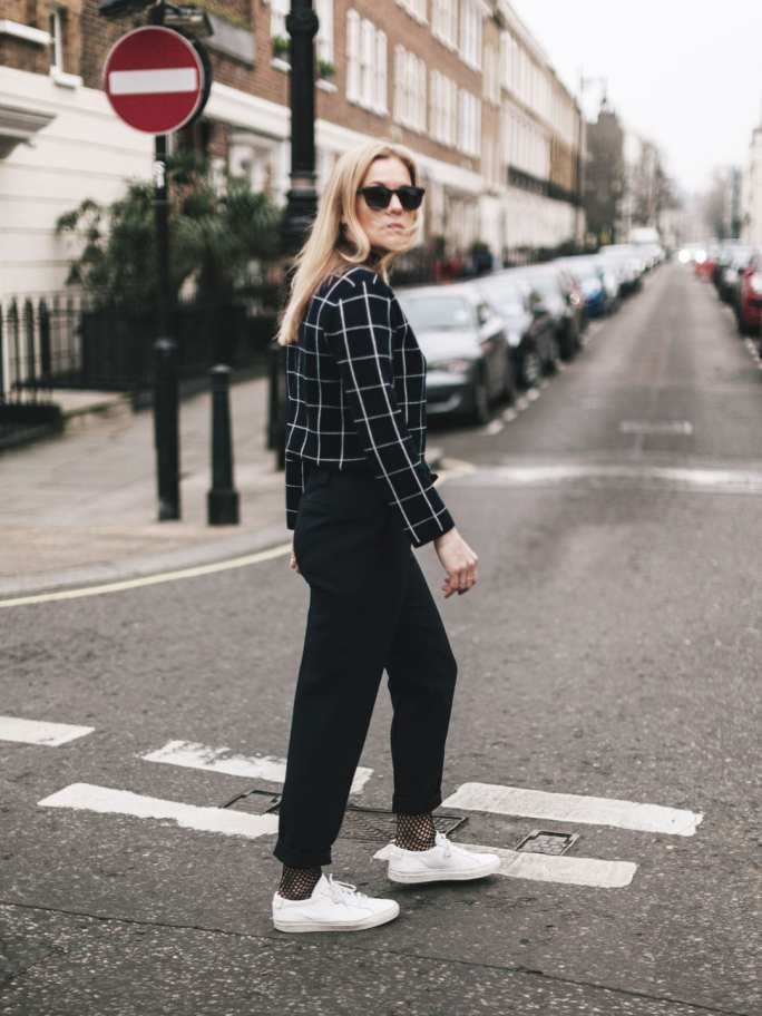 ME+EM Jacquard Check Sweater, AM to PM Trousers & Common Projects