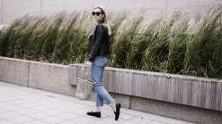 The White Company Linen Blouse, Levi 501s, Bass Weejuns, Straw Bag & Sandro Biker
