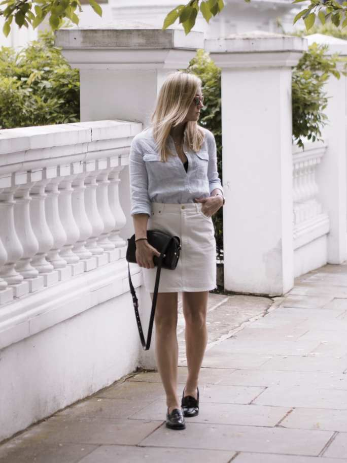The White Company Linen Shirt, & Other Stories Denim Skirt & Bass Weejuns