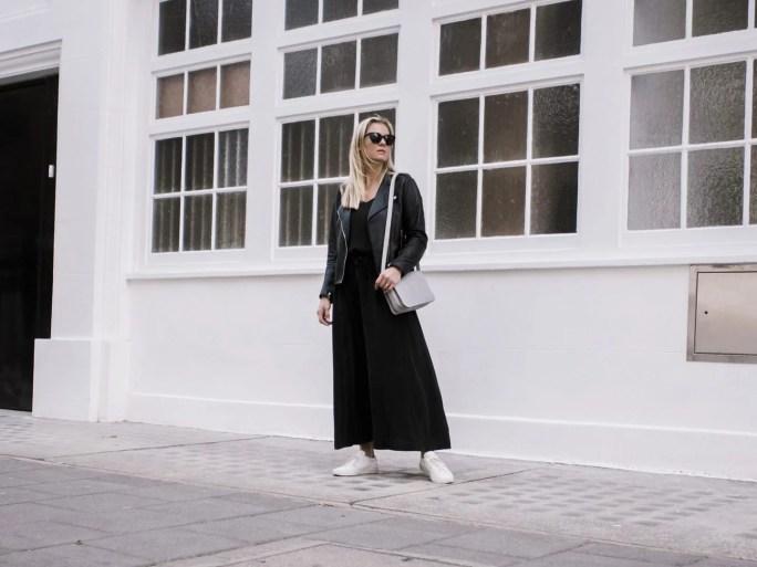 The White Company Black Silk Dress, Sandro Biker Jacket. Common Projects & Baia Trio Bag