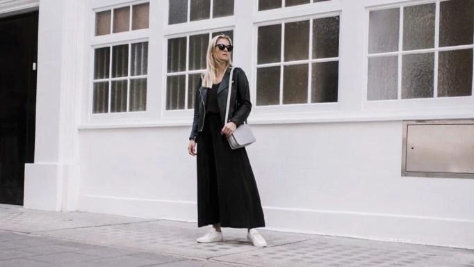 The White Company Silk Dress, Sandro Biker Jacket. Common Projects & Baia Trio Bag