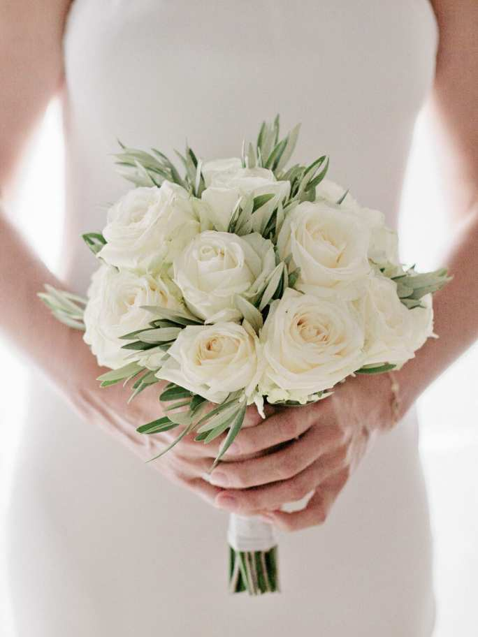 My wedding bouquet of cream roses and olive