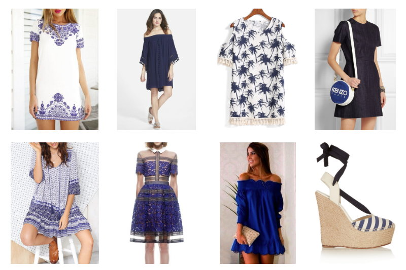 style picks, blue, dresses, accessories, fashion