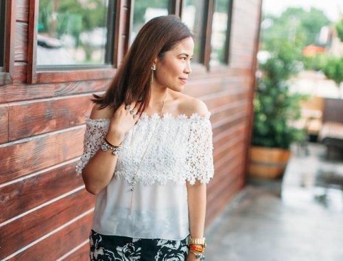 Off shoulder, top, floral, summer look