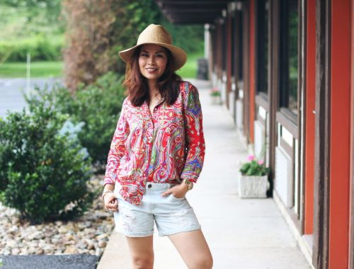 Paisley button down shirt, denim cutoffs, straw hat